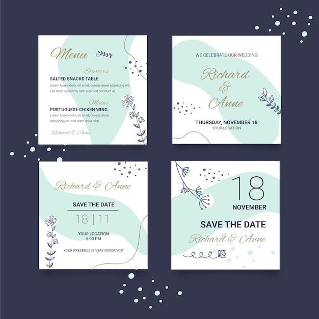Floral bruiloft instagram-berichten Gratis Vector