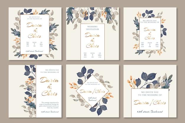 Floral bruiloft instagram posts-collectie Gratis Vector