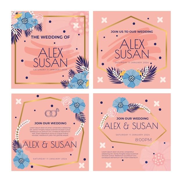Floral bruiloft instagram posts sjabloon Gratis Vector