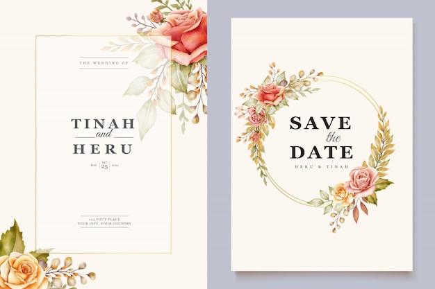 Floral bruiloft kaart Gratis Vector