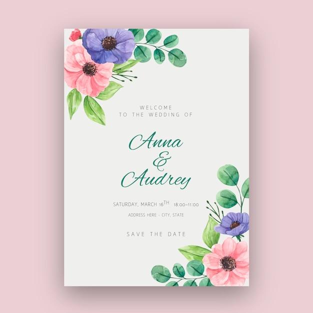 Floral bruiloft kaartsjabloon Gratis Vector