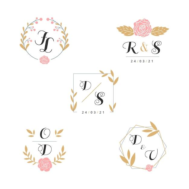 Floral bruiloft monogrammen collectie Gratis Vector