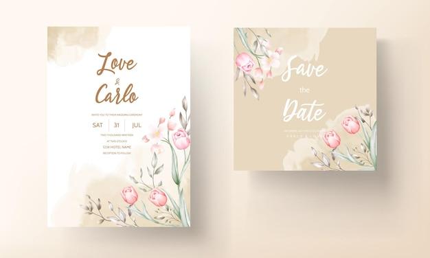Floral bruiloft uitnodiging sjabloon set met bruin en perzik bloemen en bladeren decoratie Gratis Vector