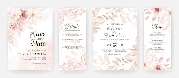 Floral bruiloft uitnodiging sjabloon set met bruine rozen bloemen en bladeren decoratie. Premium Vector