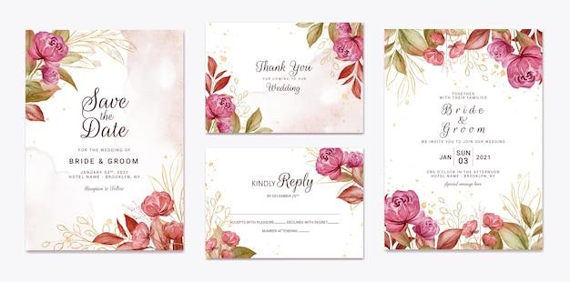 Floral bruiloft uitnodiging sjabloon set met gouden bordeauxrode en bruine rozen bloemen en bladeren decoratie. botanische kaart ontwerpconcept Premium Vector