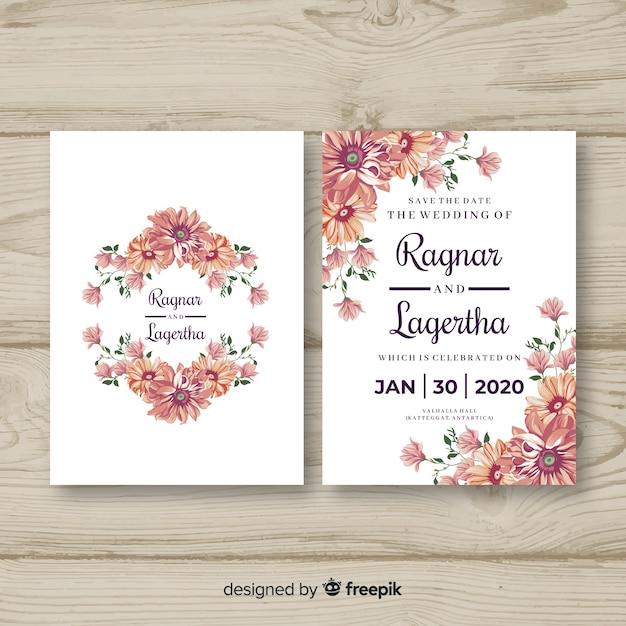 Floral bruiloft uitnodiging sjabloon Gratis Vector
