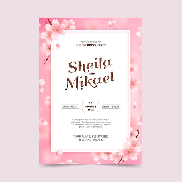 Floral bruiloft uitnodiging sjabloon Premium Vector
