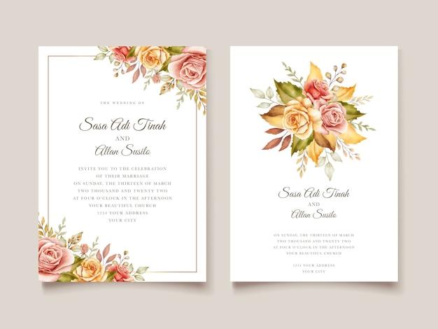 Floral bruiloft uitnodigingskaart Gratis Vector