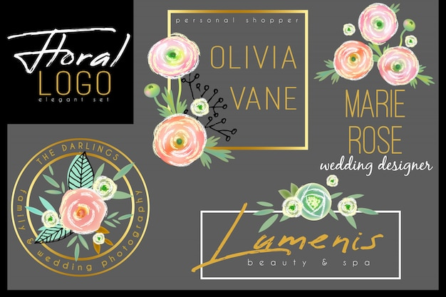 Floral chique logo sjabloon met aquarel rozen Premium Vector