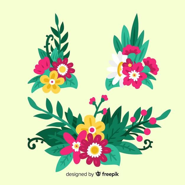 Floral decoratie element collectie Gratis Vector