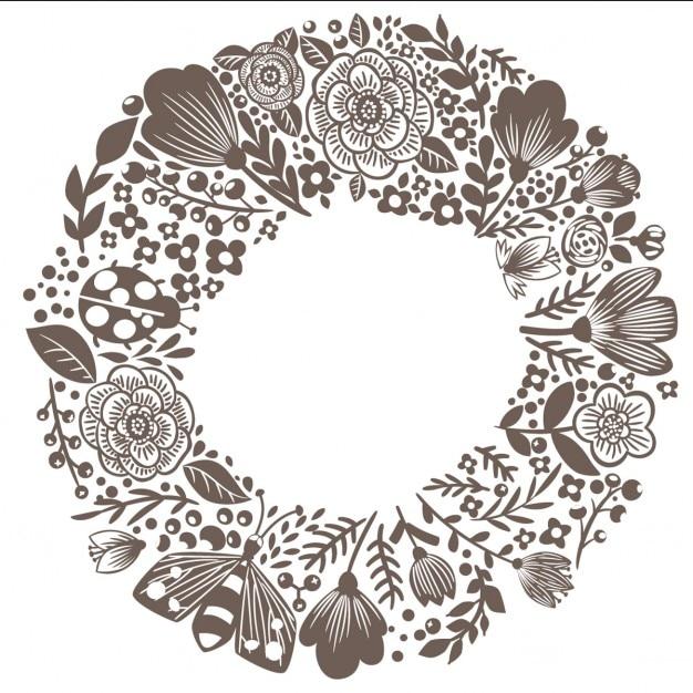 Floral doodle krans met citaat grote droom Gratis Vector