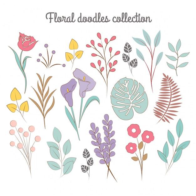 Floral doodles-collectie Premium Vector