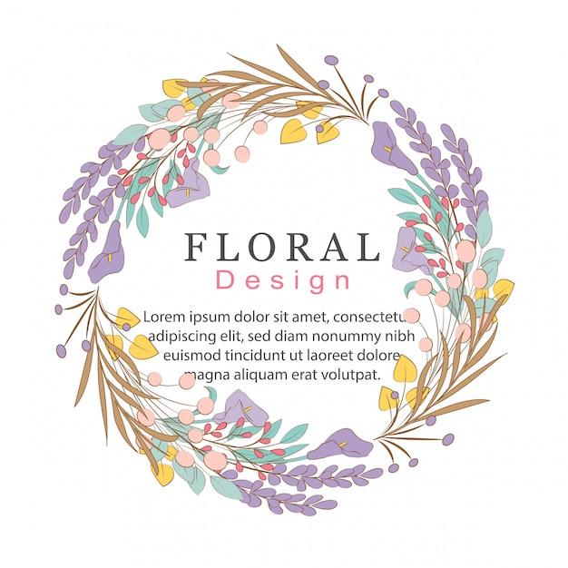 Floral doodles-krans Premium Vector