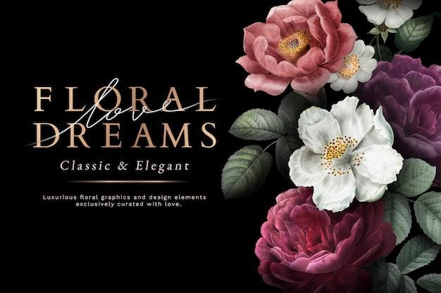 Floral dromen kaart Gratis Vector