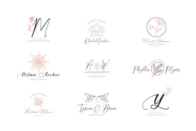 Floral elegante logo's collectie Gratis Vector