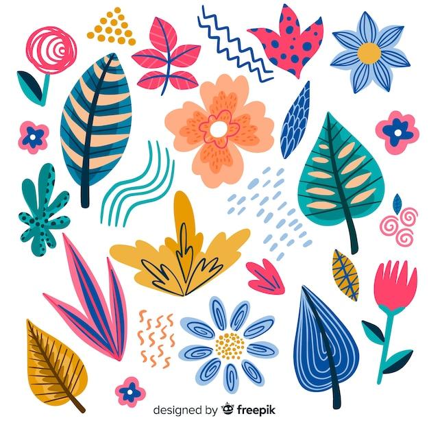 Floral element collectio Gratis Vector