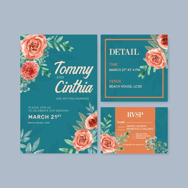 Floral ember gloed bruiloft kaart met vintage bloemen aquarel illustratie. Gratis Vector