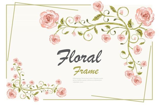 Floral frame achtergrond sjabloon Gratis Vector