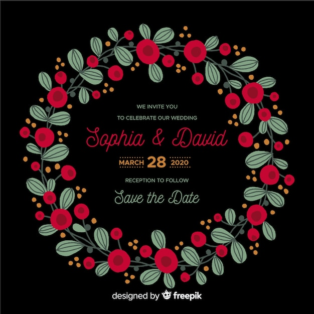 Floral frame bruiloft uitnodiging sjabloon Gratis Vector
