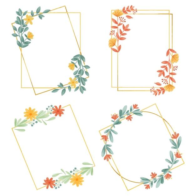 Floral frame collectie Gratis Vector