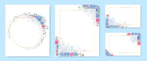 Floral frame en krans set Premium Vector