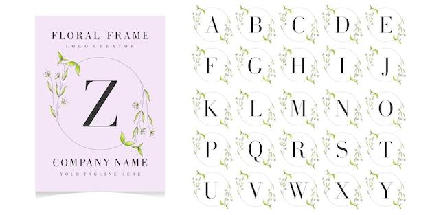 Floral frame met eerste kaartcollectie Premium Vector