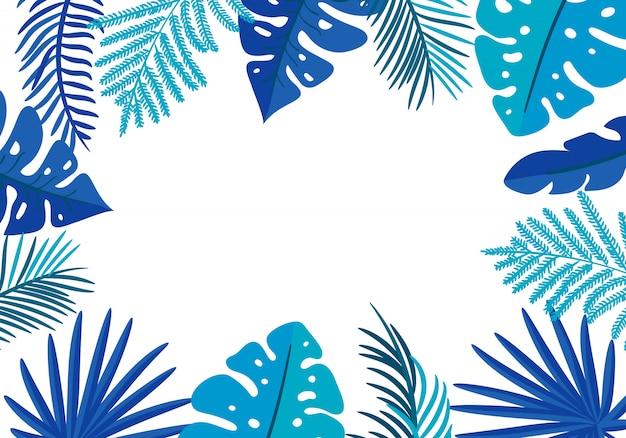 Floral frame tropische bladeren palm met plaats voor tekst. Premium Vector