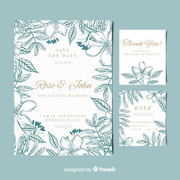 Floral frame uitnodiging kaartsjabloon Gratis Vector