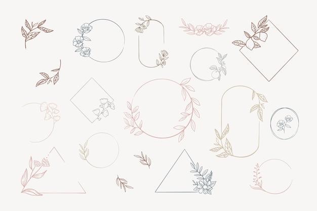 Floral frames instellen Gratis Vector