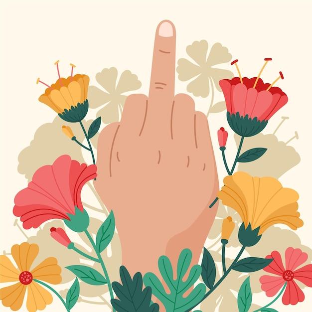 Floral fuck you-symbool Gratis Vector