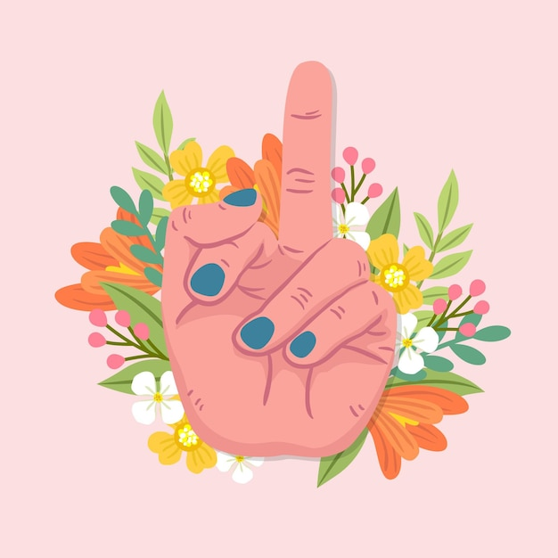 Floral fuck you-symbool Gratis Vector
