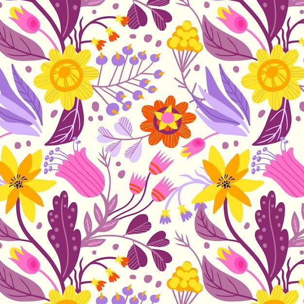 Floral handgeschilderde stof patroon Gratis Vector
