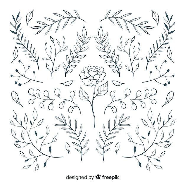 Floral handgetekende sieraad collectie Gratis Vector
