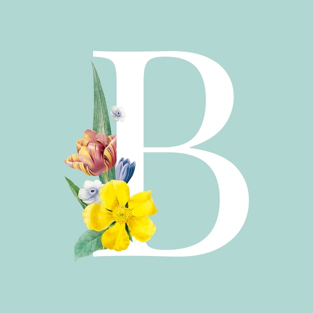 Floral hoofdletter b alfabet vector Gratis Vector
