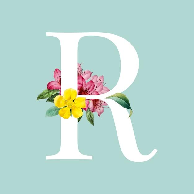 Floral hoofdletter r alfabet vector Gratis Vector