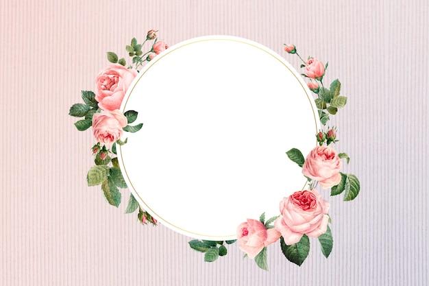 Floral ingelijst embleem Gratis Vector