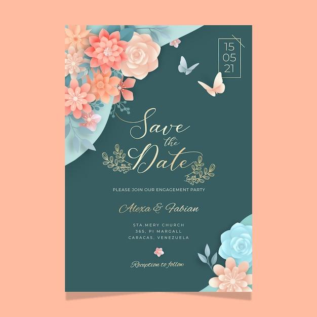 Floral kaartsjabloon voor bruiloft Gratis Vector