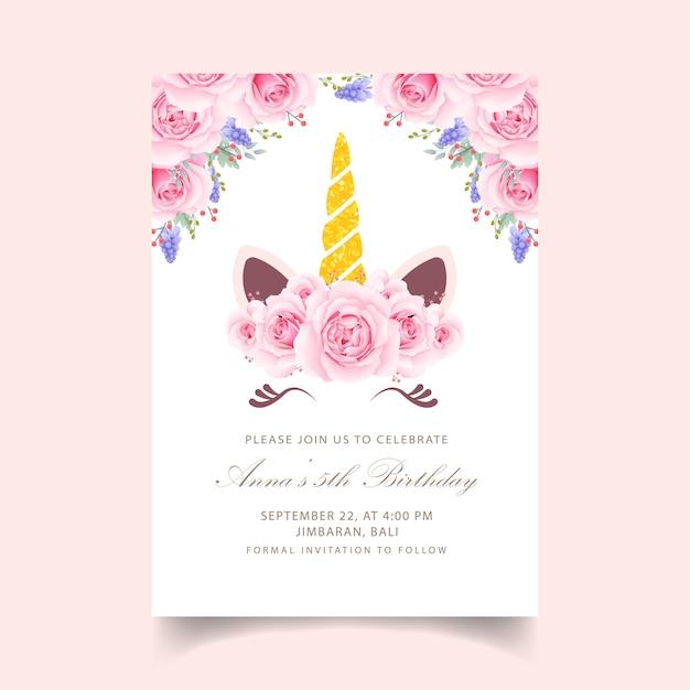 Floral kinderen verjaardagsuitnodiging met schattige eenhoorn Premium Vector