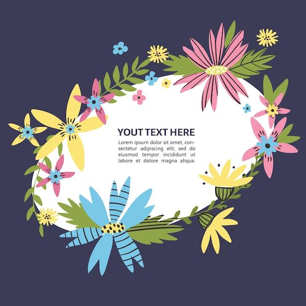Floral kostganger met hand getrokken bloemen. wilde bloemen krans plaats voor uw tekst. kleurrijke doodle tekstkader voor poster, artikel, uitnodiging, babydouche, kaart. Premium Vector