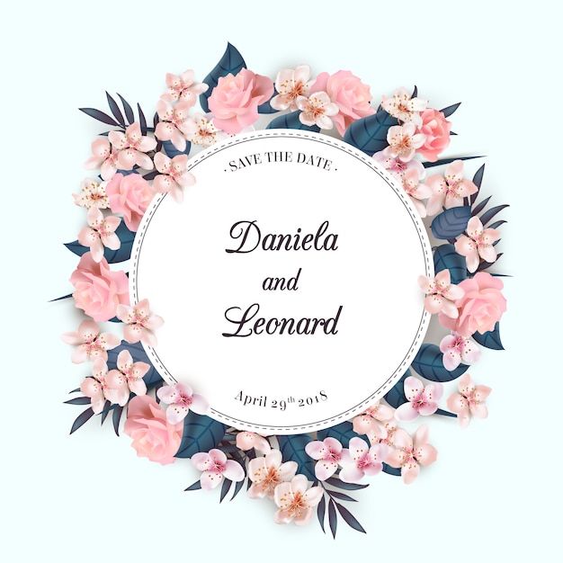Floral krans huwelijksuitnodiging Gratis Vector