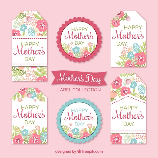 Floral labels in pastel kleuren voor moederdag Gratis Vector