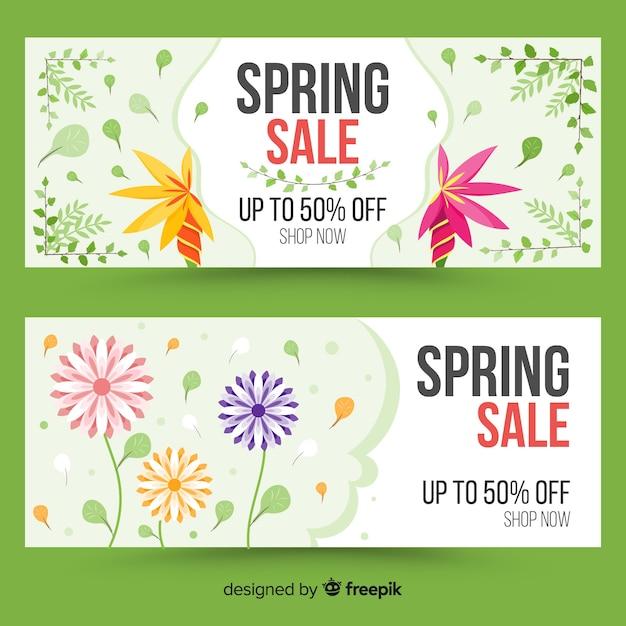 Floral lente verkoop banner Gratis Vector