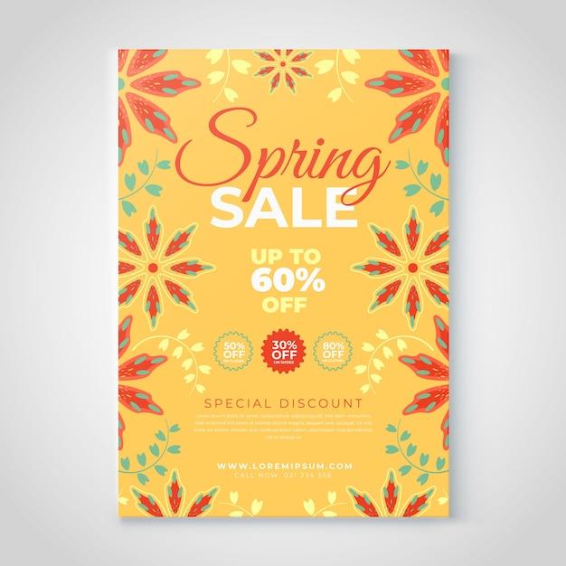 Floral lente verkoop sjabloon folder Gratis Vector
