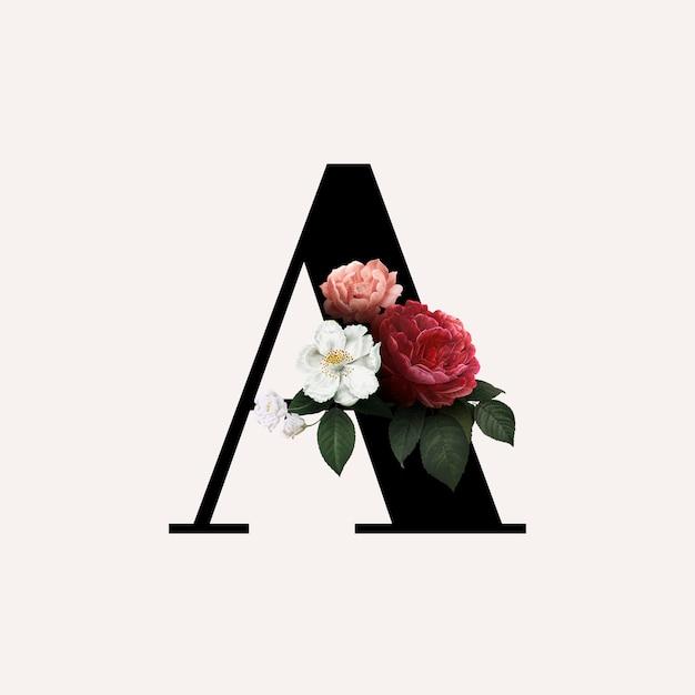Floral letter a lettertype Gratis Vector