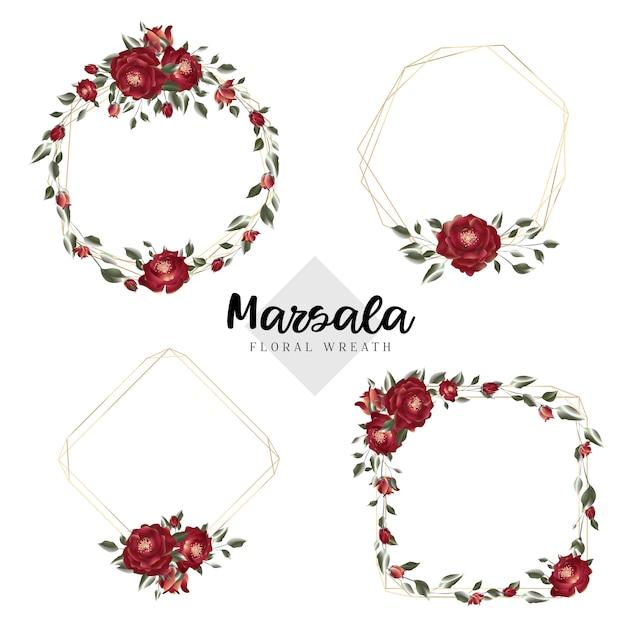 Floral marsala krans geometrische kaders Premium Vector