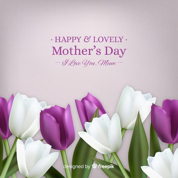 Floral moederdag achtergrond Gratis Vector