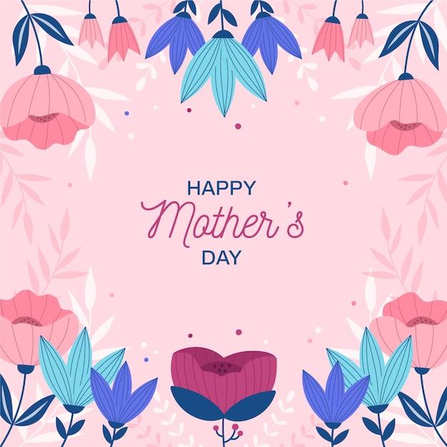 Floral moederdag concept Gratis Vector