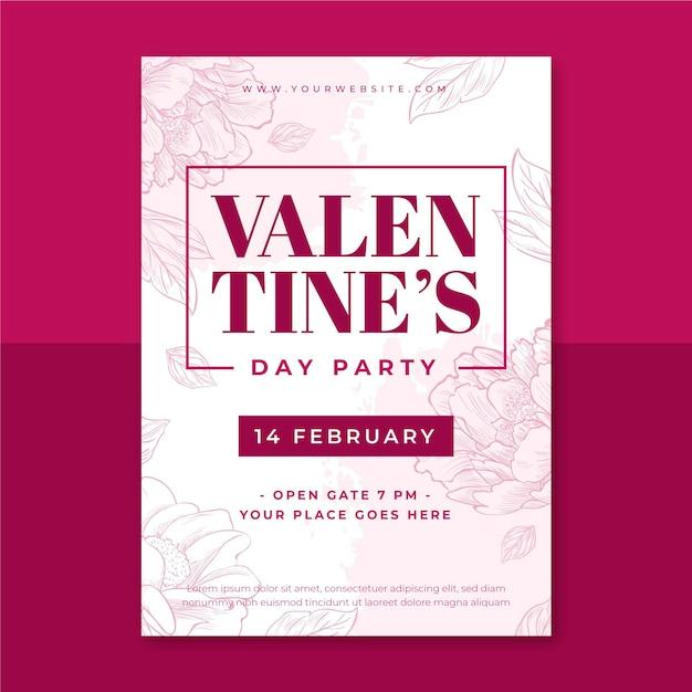 Floral monocolor valentijnsdag poster Gratis Vector