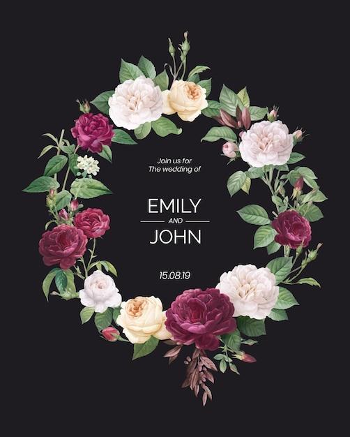 Floral ontwerp bruiloft uitnodiging Gratis Vector