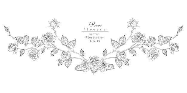 Floral ontwerpelement voor koptekst Premium Vector